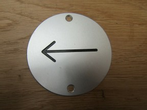 Circle Satin Aluminium Arrow Door Sign