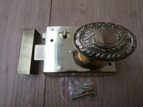 "4"" Rim Latch Brass & Art Nouveau Oval Brass Set"