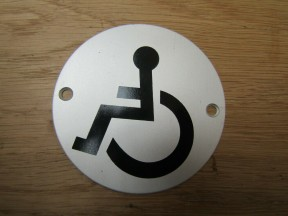 Circle Satin Aluminium Disabled Door Sign