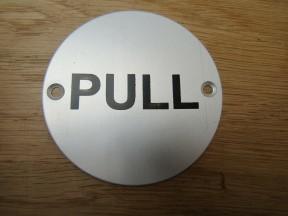 Circle Satin Aluminium Pull Door Sign