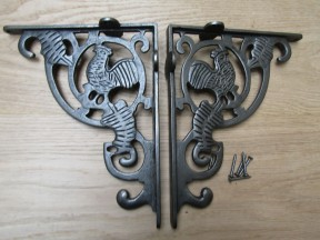 Pair Of Cockerel Shelf Brackets Antique Iron
