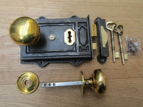 Davenport Rim Lock Antique Iron & Cottage Rim Antique Brass Set