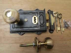 Davenport Rim Lock Antique Iron & Beehive Reedeed Rim Polished Brass Set