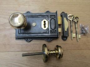 Davenport Rim Lock Antique Iron & Georgian Rim Brass Set