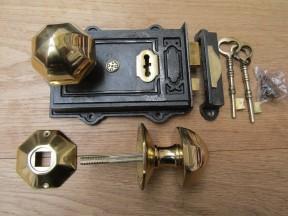 Davenport Rim Lock Antique Iron & Octagonal Rim Brass Set