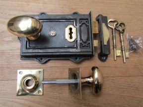 Davenport Rim Lock Antique Iron & Oval Square Base Rim Brass Set