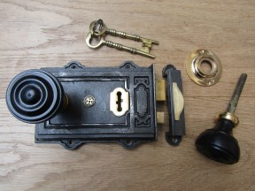 Davenport Rim Lock Antique Iron & Bun Rimmed Ebony + Brass Set