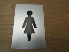 """6"""" Satin Aluminium Female Door Sign"""