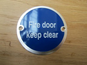 Circle Satin Aluminium Fire Door Keep Clear Door Sign