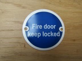 Circle Satin Aluminium Fire Door Keep Locked Door Sign
