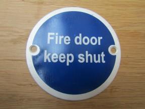 Circle Satin Aluminium Fire Door Keep Shut Door Sign