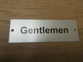 Rectangular Satin Aluminium Gentlemen Door Sign