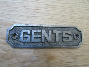 Cast Iron Gents Plaque