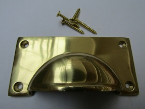 Large Lipped Rectangular Cup Pull Handle Polished Brass