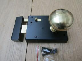 "4"" Rim Latch Black & Victorian Rim Brass Set"