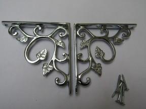 Pair Of Small Leaf Shelf Brackets Polished Chrome