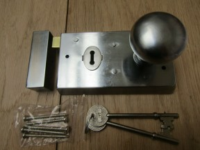 "5.5"" Rim Lock Satin Chrome & Victorian Rim Satin Chrome Set"