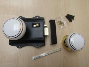 Olde Latch Black + Brass & White Ceramic Brass Rimmed Set
