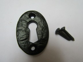 Oval Open Escutcheon Black Antique