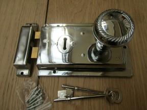 "6"" Rim Lock Polished Chrome & Georgian Rim Polished Chrome Set"