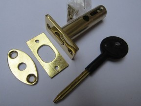 Polished Brass door Rackbolt + Key