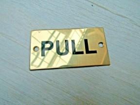Rectangular Brass Pull Door Sign