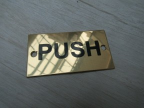 Rectangular Brass Push Door Sign