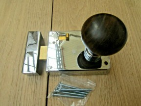 "4"" Rim Latch Polished Chrome & Plain Bun Teak + Chrome Set"