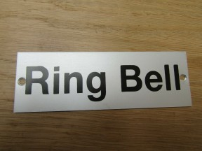 Rectangular Satin Aluminium Ring Bell Door Sign