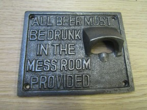 Fullers Mess Room Cast Iron Bottle Opener