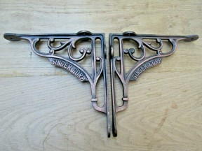 "Pair Of 8"" Singer Corp Shelf Brackets Antique Copper"