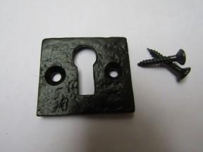 Small Square Escutcheon Black Antique
