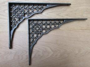 "Pair Of 12"" Lattice Shelf Brackets Antique Iron"