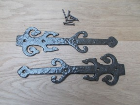 "Pair of 12"" Decorative Ornate Hinge fronts Antique Iron"