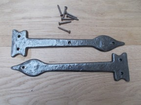 """Pair of Hinge fronts Antique Iron 12"""" Leaf end"""