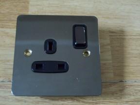 Black Nickel Switch Plate 1 gang DP Switch Socket