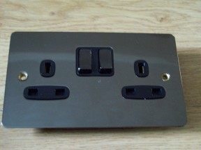 Black Nickel Switch Plate 2 gang SP Switch Socket