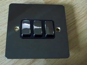Black Nickel Switch Plate 3 gang 2 way light switch