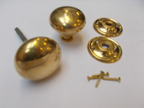 Rim Cottage Knob Set Natural Brass 55mm