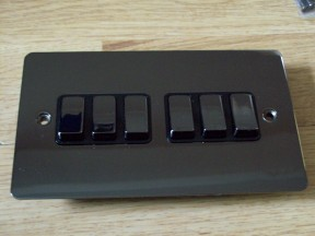 Black Nickel Switch Plate 6 gang 2 way light switch