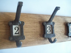 Antique Iron Ceramic Numbered Coat Hook Rail