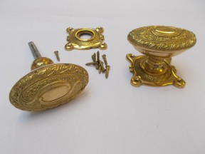 Mortice Door knob Brass Art Nouveau on square base