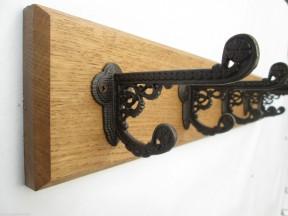 Antique Iron Basildon 3 Hook Coat Rail 38cm