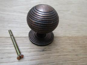 Cast Iron Reeded Cabinet Knob Antique Copper
