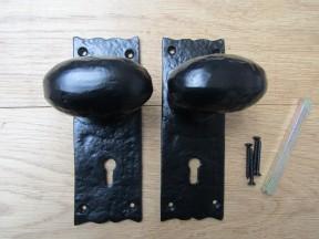 Oval Knob on Backplate Lock Mortise Handle black antique