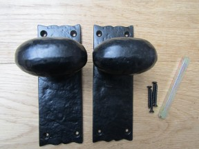 Oval Knob on Backplate Latch Mortise Handle black antique