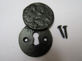 Round Covered Escutcheon Black Antique