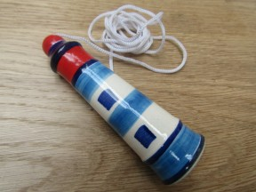 Red Blue Lighthouse Bathroom Ceramic Cord Light Pull Handle