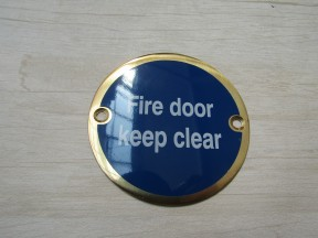 Circle Brass Fire Door Keep Clear Door Sign