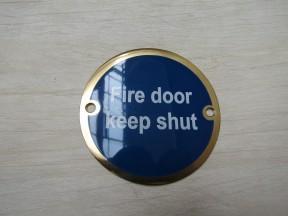 Circle Brass Fire Door Keep Shut Door Sign